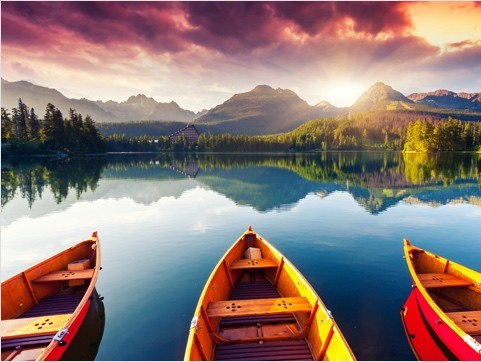 Canoeing on the mountain lakes